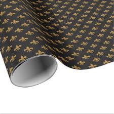 black matte wrapping paper gold fleur de lis wrapping paper zazzle