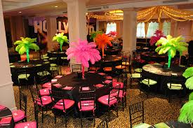 hollywood themed bat mitzvah with feather palm tree centerpieces