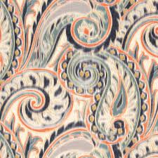 navy orange linen paisley fabric contemporary paisley