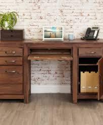 Cheap Computer Desks Uk Mayan Walnut Pedestal Hardwood Computer Desk