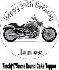 harley davidson vtwin silver motorbike birthday cake topper