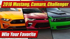 challenger camaro mustang 2018 mustang camaro challenger win your favorite