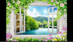 free shipping flowers free shipping 2015 custom non woven wallpaper 3 d window flowers