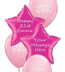 personalised birthday balloons pink personalised birthday balloon bouquet party fever