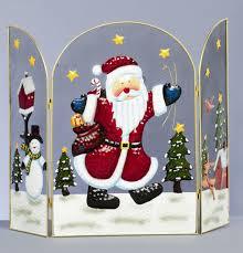 decorative 63cm christmas fireguard metal 3 panel fireplace screen