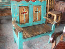 turquoise entry or porch bench u2013 monterrey rustic furniture