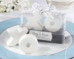 wedding salt and pepper shakers ceramic xo hugs and kisses salt and pepper shakers wedding favors