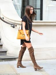 boots glasses uk emily ratajkowski teams chic glasses with thigh high boots in