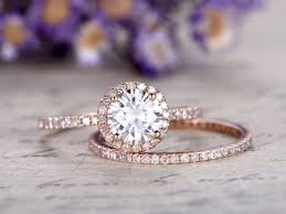 promise ring engagement ring and wedding ring set 2pc moissanite engagement ring set with diamond solid 14k