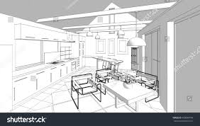 kitchen living room interior sketch 3d stock illustration