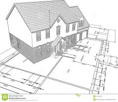 sketched house on plans royalty free stock photo image 14397295