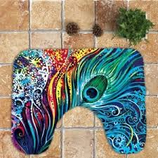 colorful nonslip peacock feathers printed 3pcs bathroom rugs set