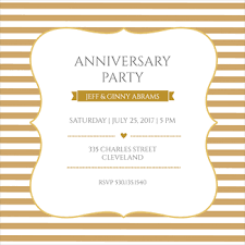 gold and white free anniversary invitation template greetings