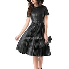 leather dress accordion pleats leather dress for women