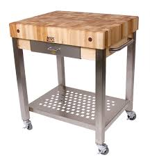 furniture butcher block cart with steel base for kitchen
