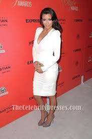 awn awards kim kardashian white cocktail dress hollywood style awards red