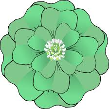 clipart of a st patricks day green four leaf clover flower with a