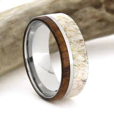 deer antler wedding band deer antler ring wood wedding band titanium ring with ironwood