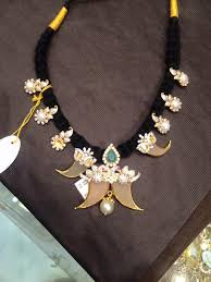 gold necklace patterns images Black dori necklace latest pattern jpg