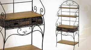 étagère en fer forgé pour cuisine table en bois et fer forgé de style rétro patine vert antique