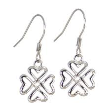 most hypoallergenic earrings 316l celtic heart shaped four leaf clover earrings