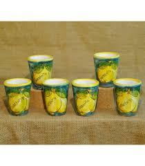 bicchieri in ceramica 6 bicchieri in ceramica verde per limoncello sapori e colori