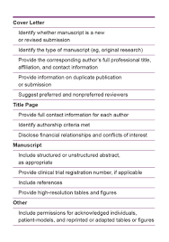 cover letter manuscript elements of manuscript the journal of the american
