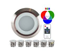 6 pack rgb led deck lights marine grade stainless steel expandable