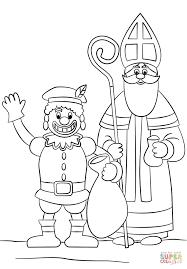 zwarte piet and st nicholas coloring page free printable