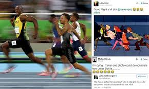 Track And Field Memes - usain bolt smiling for camera during 100m olympic final spawns