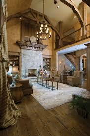 rustic great room liking the wide plank hickory floors two