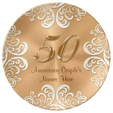 50th anniversary plates personalized porcelain 50th anniversary gold plate zazzle