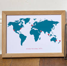 Large Framed World Map by Large Personalised World Map Card By Milly Inspired
