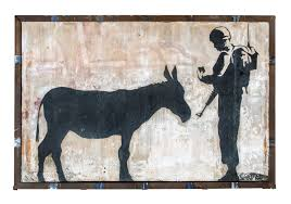 cartwheel art preview julien s auctions street art auction aerosol on composite stone wall 126 by 84 inches created in bethlehem in 2007 banksy s controversial mural depicts a donkey having its identification