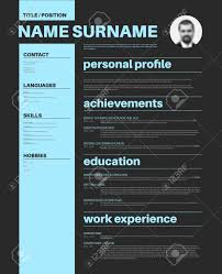 Cv Resume Example by Vector Minimalist Cv Resume Template With Nice Typogrgaphy