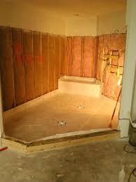 Shower Tile Installation Large Shower Tile Installation Custom Pan Base Fiberglass 1