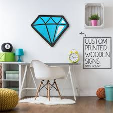 diamond custom wood patch printed sign unique trendy game room