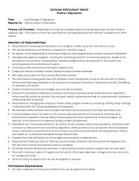 Restaurant Owner Resume Sample by Manager Job Description Employment Opportunity Job Description
