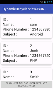 android json android create recyclerview using json parsing server data