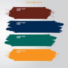 brush strokes banners in different colors vector free download