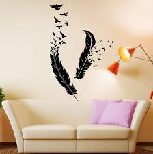 sticker chambre livraison gratuite abstraite vinyle stickers muraux plumes flying
