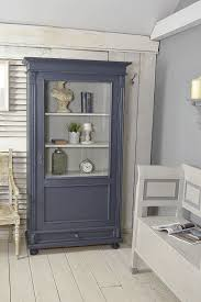 small blue shabby chic dutch linen cupboard display cabinet
