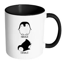 cool coffee mug inhale exhale penguin yoga cool mug animal funny coffee mugs