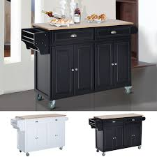 kitchen cart with cabinet homcom modern rolling storage cart with wood top kitchen island
