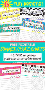 summer chore charts free printables u0026 secrets for enforcing
