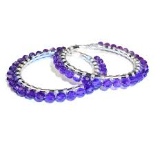 white gold hoops 14kt white gold hoop woven with faceted amethyst also