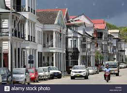 dutch colonial houses at waterkant street waterfront in