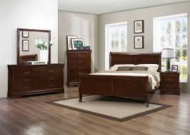 Louis Philippe Sleigh Bed Traditional 4pcs Louis Philippe Brown Cherry Queen Sleigh Bedroom Set