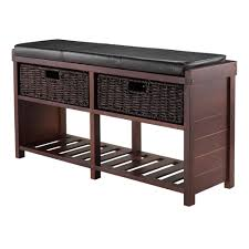 Entry Way Bench And Shelf Amazon Com Winsome Wood Colin Cushion Bench With Baskets Kitchen