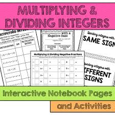 multiplying and dividing integers interactive notebook pages